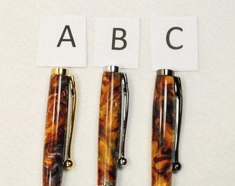 Handmade Custom Slim Twist Ballpoint Pen, Molten Metal Acrylic, By ASHWoodshops inexpensive gifts, Amazing Stocking Stuffers
