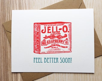Vintage Screen Printed Get Well Soon Card with Vintage JELL-O