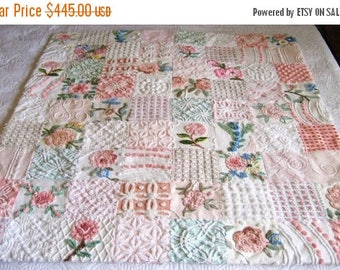 "ON SALE Custom Made - ""Pink Roses Bouquet"" Vintage Chenille Quilt / Throw - Boutique quality handmade vintage chenille large throw."