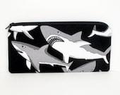 Shark Zippered Pencil Pouch, Alexander Henry, Black and Gray Sharks