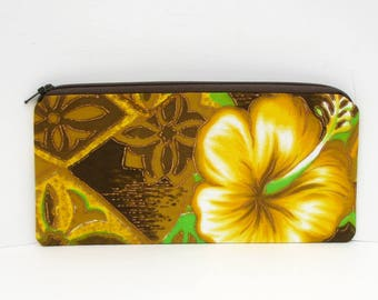 Zippered Pencil Pouch, Retro Hawaiian Hibiscus, Gold Tropical Bag