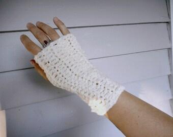 The Sugarcane Handmade Crochet Boho Boucle Fingerless Gloves. Bohemian Arm warmers. Vanilla Almond Sugar Cookie Romantic Sweet