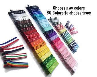 25 Stripe & Dots Lined 45mm Alligator Clips, Stripe Hair Clips, No Slip Hair Clips, Fully Lined, Partially Lined, Double Prong, Single Prong