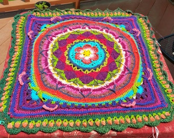 Eve's Garden Universe Afghan Lapghan Throw or Bedspread Art Yarn Hand Dyed Spun Jewel Tones Cotton Silk Eco Upcycled Luxe Natural Fibers
