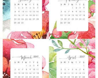 Instant. 4x5 2017 Watercolor Floral Printable Desk Calendar. Instant Download. Locker Calendar Desk Calendar.