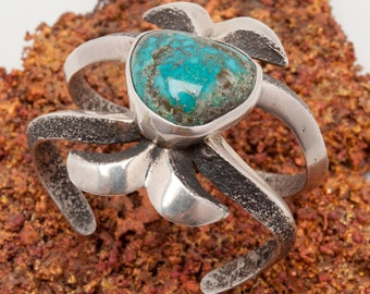 """Sand-Cast Sterling Silver Bracelet Signed """"DURKEE"""" with Morenci, Arizona Turquoise Nugget Setting Native American"""