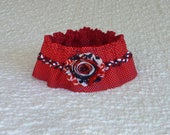 "Patriotic Dog Collar, Red Dotted Dog Scrunchie Collar with red, white, blue braid and flag shabby flower - Size M 14"" to 16"" neck"