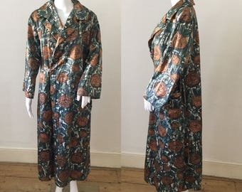 1930s House Robe | Deco Orange Rose Floral Print | Wrap Style | Vintage Loungewear Dressing Gown