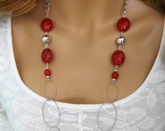 Long Red Necklace, Red Bead Necklace, Red Necklace, Long Silver Necklace, Red Necklaces, Red Jewelry, Long Necklaces, Beaded Necklace, N854