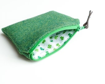 Green HARRIS TWEED purse, Shamrock  lining