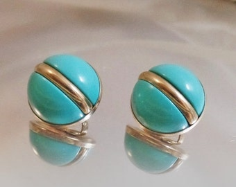ON SALE Vintage Turquoise Holiday Earrings.  Sarah Coventry Earrings. 1966.  Atomic. Silver Tone.