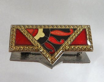 SALE Vintage Pierre Bex Brooch. Art Deco. Red Enamel. Lucite.