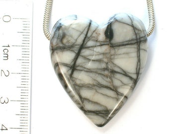 DVH Utah Spiderweb Picasso Marble Heart Focal Bead 39x33x10 (8384)