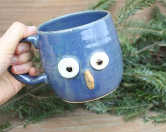 Blue Owl Mug. Googly Eye Bird Face Coffee Cup. Unique Pottery Gift. Owl Lover Teacup in Blue. Made in America. Ceramic Cups and Mugs