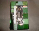 MOSAIC Light Switch Plate -  Single Switch, Wall Art, Wall Plate, Shades of Green, Silver