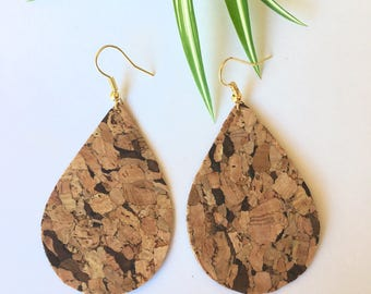 CORK teardrop shape earrings natural earrings light earrings lightweight earrings
