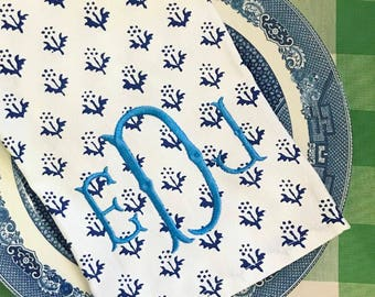 Blue and white provence style monogram tea towel