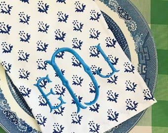 Blue and white provence style monogram tea towel