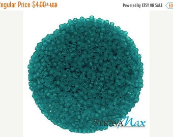 Beads On Sale - DB-1268 11/0 Miyuki Delica Seed Beads - caribbean topical teal green seed beads - transparent matte beads - round cylinder s