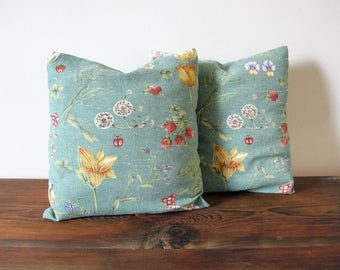 Pair of Small Vintage Accent Pillows Botanical Floral Print