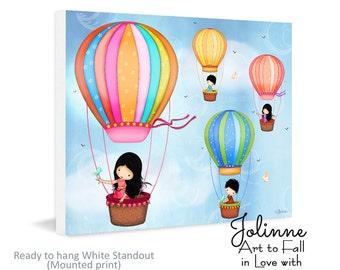 Hot air balloon Kids wall art ,playroom art, art for kids room,brothers sisters art,gift for kids,nursery decor,girls room art,wall posters
