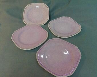 """Pink Plates, Midwinter Porcelon Porcelain, Burslem England, Speckled, 4.75"""" - Set of 4 1930s"""