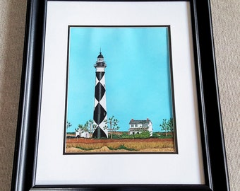 Cape Lookout Lighthouse Original colored pencil art matted and framed North Carolina