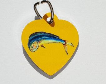 Mahi Mahi Dolphin fish on yellow Heart shaped Pet tag aluminum fishing