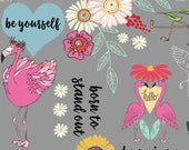 Flamingo Fever Fabric Word Script Repeat Chic Pink Flamingos Pineapples and Mod Daisy Flowers on Gray