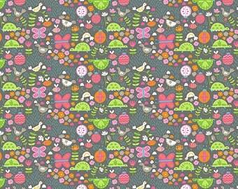 Flutter and Float Fabric Turtles Bugs Butterflies Chicks Hens Flitter Flutter on Gray