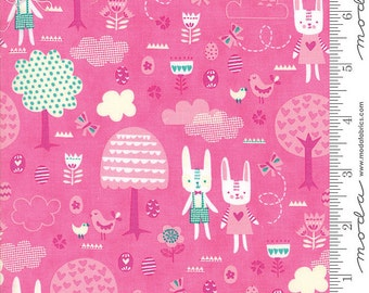 Spring Bunny Fun Rabbits on a Woodland Forest Walk Easter Fabric by Stacy Iest Hsu for MODA