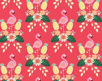 Flamingo Fever Fabric Pineapples and Flamingos Birds of a Feather Pineapple Dance on Hot Pink