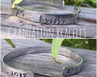 graduation gift- personalized bracelet with name- she believed she could so she did- free domestic shipping- custom gift with name