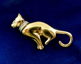 So Adorable Kitten Cat Brooch with Rhinestone Collar - figural cat/puppy/kitten brooch for collection -- Art.604/4-