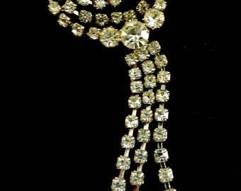 Vintage  long dangle Diamante  brooch - 1960's European fringe/ tassel brooch - art.447/2-