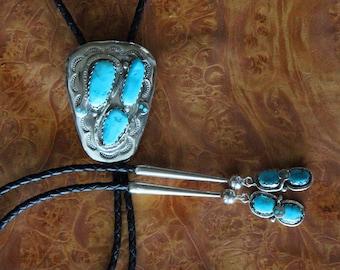 Effie Calavaza Bolo Tie Silver Turquoise
