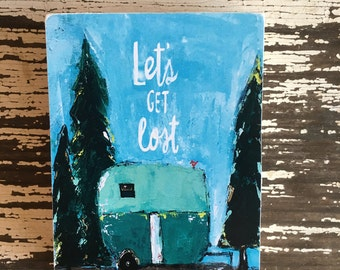 Camper art, let's get lost,ACEO  Reproduction Mounted On Wood Block by Sunshine Girl Designs (2.5 x 3.5 Inches Print)airstream trailer