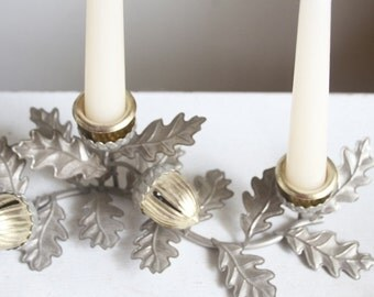 Thanksgiving Centerpiece, Candelabra, Holiday Mantel Decor, Candle Holder, Acorns and Oak Leaves, Mixed Metals, Hostess Gift Idea