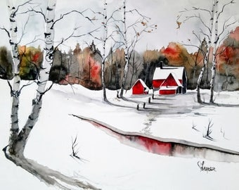 ACEO Print Aceo Limited Edition Art Card Watercolor Painting Landscape Painting Collectible Art Miniature Art Unframed Art