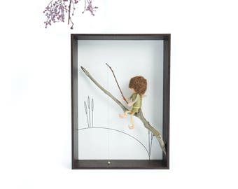 Needle felted fairy doll in shadow box - FISHERMAN (brown/olive)