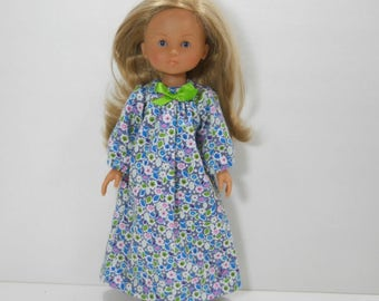 13 inch doll clothes made to fit dolls such as Corolle Les Cheries doll clothes, Grey Nightgown with White Blue Green Flowers, 03-1953