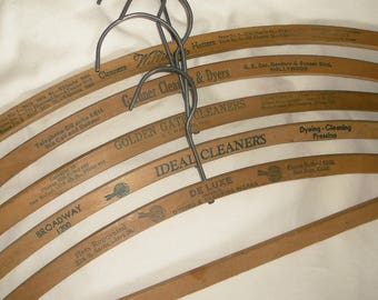 5 Old Wooden California Ad Clothes Hangers