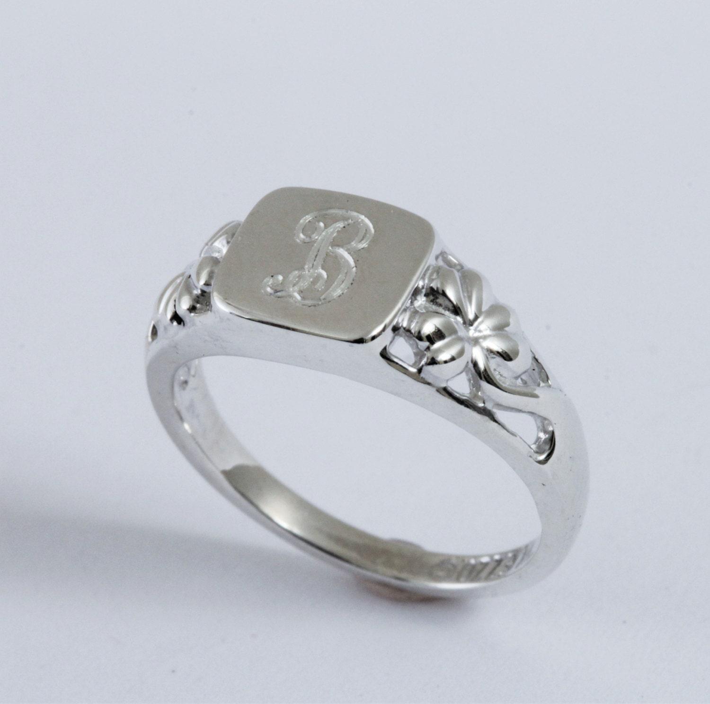 Irish Signet Ring Shamrock Signet Ring Irish Silver Monogram