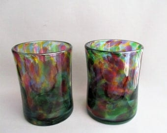 Hand  Blown Art Glass Tumblers -  Multicolored.