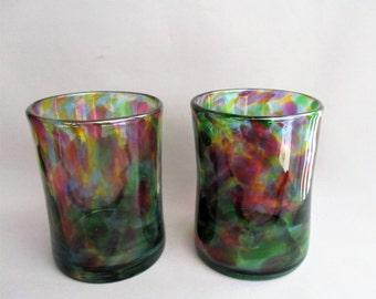 Hand  Blown Art Glass Tumblers -  Multicolored.