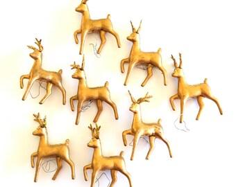 Vintage Gold Glitter Christmas Reindeer Picks Set of 8 Hollow Plastic Hong Kong