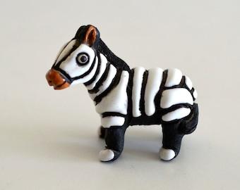 Vintage Ceramica Leps Peru Miniature Zebra Figurine