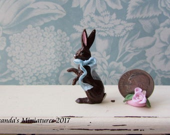 Dollhouse Miniature pink Easter Bunny Rabbit small brown  cottage chic