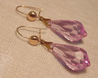 Art Deco Faceted Pink Crystal Earrings Vintage Earrings Crystal Jewelry Pink Earrings Glass Jewelry Dangle Earrings