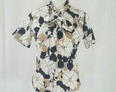 Vintage Judy Bond Floral Bow Tie Neck Short Sleeved Blouse S